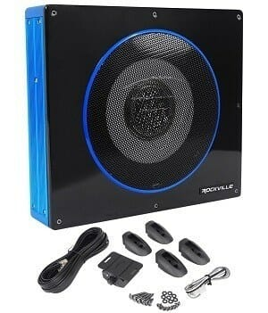 Rockville RW8CA 8-Inch Low Profile Under-Seat Active Powered Car Subwoofer