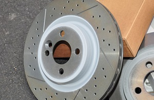 Cross-drilled brake rotors