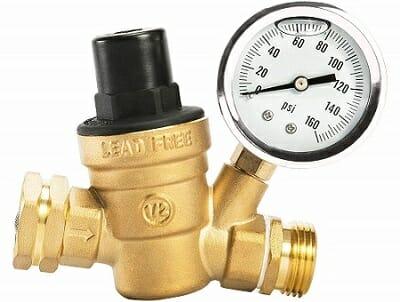 Esright Brass RV Water Pressure Regulator With Gauge