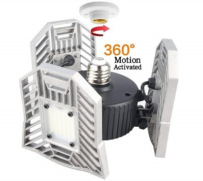 Tanbaby Motion-Activated Adjustable LED Garage Lighting