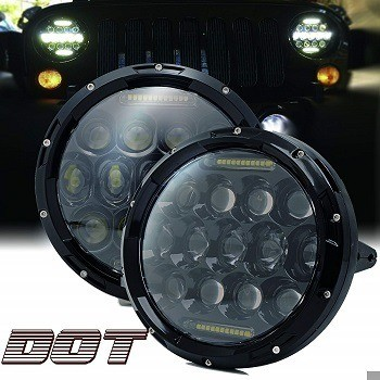 Turbosii 7-inch Round LED Halo Light with White DRL